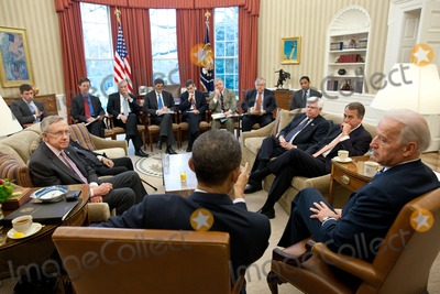 Barack Obama, Harry Reid, Joe Biden, President Barack Obama, Vice President Joe Biden, White House Photo - United States President Barack Obama and Vice President Joe Biden meet with U.S. House Speaker John Boehner (Republican of Ohio), right, and U.S. Senate Majority Leader Harry Reid (Democrat of Nevada), left, to discuss ongoing budget negotiations on a funding bill in the Oval Office, April 5, 2011. Photo by Pete Souza/White House/CNP-PHOTOlink.net