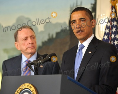 Arlen Specter, Barack Obama, President Barack Obama Photo - Washington, D.C. - April 29, 2009 -- United States President Barack Obama, right, makes a statement welcoming United States Senator Arlen Specter (Democrat of Pennsylvania), left, to the Democratic Party.  In his remarks the President also addressed the effects of the H1N1 virus and his administration's response to the potential epidemic.Digital Photo by Ron Sachs/POOL-CNP-PHOTOlink.net
