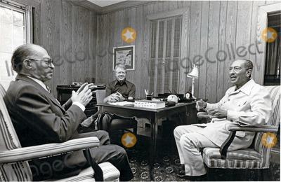 Jimmy Carter, President Jimmy Carter, White House Photo - President Anwar al-Sadat of Egypt, right, listens to Premier Menachem Begin of Israel, left, as United States President Jimmy Carter, center, looks on September 6, 1978 at Camp David, the U.S. presidential retreat in Thurmont, Maryland. Photo by Karl Schumacher /White House /CNP-PHOTOlink.net