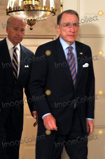 Arlen Specter, Barack Obama, Joseph Biden, President Barack Obama, Vice President Joseph Biden, The Diplomats Photo - Washington, D.C. - April 29, 2009 -- United States Senator Arlen Specter (Democrat of Pennsylvania) leads U.S. Vice President Joseph Biden into the Diplomatic Reception Room prior to President Barack Obama making a statement welcoming Senator Specter to the Democratic Party.  
