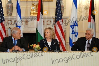 Benjamin Netanyahu, Hillary Clinton, Mahmoud Abbas, ABBA, The Used, The Negotiators Photo - Washington, DC 9/02/2010RESTRICTED: NEW YORK/NEW JERSEY OUT.NO NEW YORK OR NEW JERSEY NEWSPAPERS WITHIN A 75  MILE RADIUSSecretary Clinton hosts Abbas and Netanyahu peace talksSecretary of State Hillary Clinton hosts the re-launch of direct negotiations between Israeli Prime Minister Benjamin Netanyahu and Palestinian Authority President Mahmoud Abbas, at the US State Department. (center) Secretary Clinton, (left) Netanyahu and (right) Abbas start with opening remarks to the media to mark the start of the negotiations.Digital photo by Elisa Miller-PHOTOlink.net