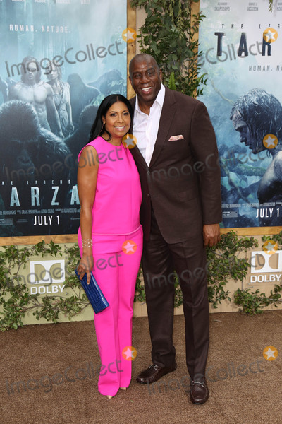 """Cookie Johnson, Magic Johnson, """"Magic"""" Johnson Photo - Photo by: JMA/starmaxinc.comSTAR MAX2016ALL RIGHTS RESERVEDTelephone/Fax: (212) 995-11966/27/16Cookie Johnson and Magic Johnson at the premiere of """"The Legend of Tarzan"""".(Hollywood, CA)"""