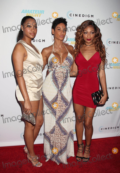 """Bria Murphy, Nicole Mitchell Murphy, NICOLE MITCHELL Photo - Photo by: RE/Westcom/starmaxinc.comSTAR MAX2016ALL RIGHTS RESERVEDTelephone/Fax: (212) 995-11967/25/16Bria Murphy, Nicole Mitchell Murphy and Shayne Audra Murphy at the premiere of """"Amateur Night"""".(Hollywood, CA)"""