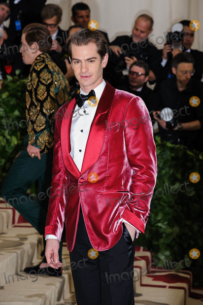 """Andrew Garfield Photo - Photo by: ESBP/starmaxinc.comSTAR MAX2018ALL RIGHTS RESERVEDTelephone/Fax: (212) 995-11965/7/18Andrew Garfield at the 2018 Costume Institute Benefit Gala celebrating the opening of """"Heavenly Bodies: Fashion and the Catholic Imagination"""".(The Metropolitan Museum of Art, NYC)"""