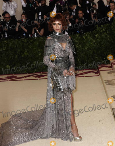 """Zendaya Coleman, Zendaya Photo - Photo by: XPX/starmaxinc.comSTAR MAXCopyright 2018ALL RIGHTS RESERVEDTelephone/Fax: (212) 995-11965/7/18Zendaya Coleman at the 2018 Costume Institute Benefit Gala celebrating the opening of """"Heavenly Bodies: Fashion and the Catholic Imagination"""".(The Metropolitan Museum of Art, NYC)"""