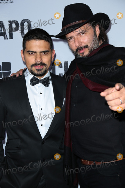 "Alejandro Aguilar, Rodrigo Abed, El Chapo Photo - Photo by: gotpap/starmaxinc.comSTAR MAXCopyright 2017ALL RIGHTS RESERVEDTelephone/Fax: (212) 995-11964/19/17Alejandro Aguilar and Rodrigo Abed at the premiere of ""El Chapo"".(Los Angeles, CA)"