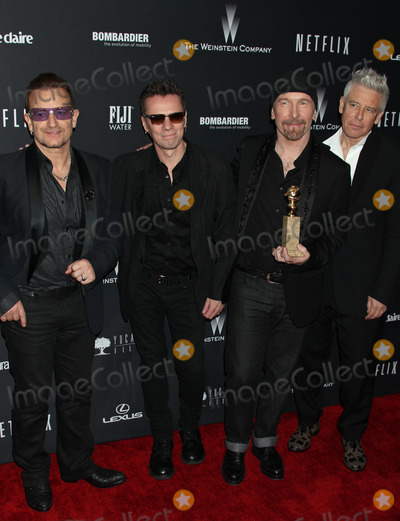 Bono, Edge, The Edge, U 2, U2 Photo - Photo by: RE/Westcom/Starmaxinc.com2014ALL RIGHTS RESERVEDTelephone/Fax: (212) 995-11961/12/14Bono, The Edge, U2, The 2014 Weinstein and Netflix Golden Globe Awards After Party at the Beverly Hilton Hotel (Beverly Hills, CA.)