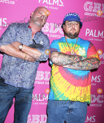 """Austin """"Chumlee"""" Russell, Austin 'Chumlee' Russell, Rick Harrison Photo - Photo by: Raoul Gatchalian/starmaxinc.comSTAR MAX2015ALL RIGHTS RESERVEDTelephone/Fax: (212) 995-11962/28/15Rick Harrison and Austin """"Chumlee"""" Russell host at Ghostbar Dayclub in the Palms Resort Hotel & Casino.(Las Vegas, Nevada)"""
