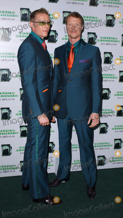 """Adrian Rayment, Neil Rayment, The Matrix Photo - Photo by: Lee RothSTAR MAX, Inc. - copyright 2003. 10/08/03Adrian Rayment and brother Neil Rayment at the worldwide DVD launch of the year for """"The Matrix Reloaded"""".(West Hollywood, CA)"""