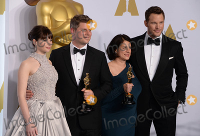 Chris Pratt, Felicity Jones, Adam Stockhausen, Anna Pinnock Photo - Photo by: PD/starmaxinc.comSTAR MAX2015ALL RIGHTS RESERVEDTelephone/Fax: (212) 995-11962/22/15Anna Pinnock (second right) and Adam Stockhausen (second left) with the award for best production design for 'The Grand Budapest Hotel', alongside presenters Felicity Jones and Chris Pratt, in the Press Room at the 2015 Oscars, held at the Kodak Theatre, Hollywood.(Los Angeles, USA)