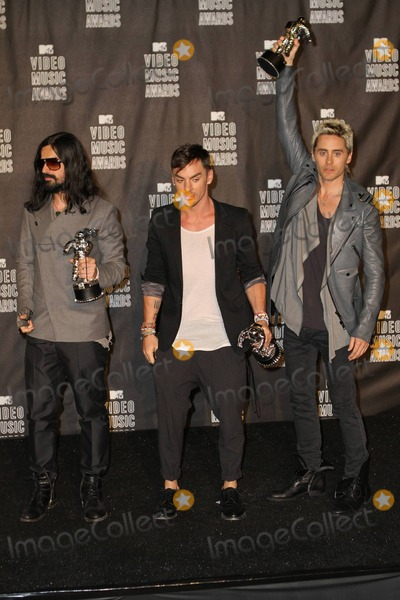 Jared Leto, Shannon Leto, Tomo Milicevic, 30 Seconds to Mars Photo - Jared Leto, Tomo Milicevic and Shannon Leto of 30 Seconds to Mars with their awards in the pressroom at the 2010 MTV Video Music Awards held at the Nokia Theatre. Los Angeles, CA. 09/12/10.