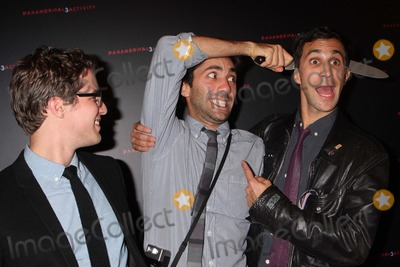 """Yaniv Schulman, Henry Joost, Ariel Schulman Photo - Directors Henry Joost and Ariel Schulman with Yaniv Schulman Arriving at a Super Fan Screening of """"Paranormal Activity 3"""" at Regal Union Square Stadium 14 in New York City on 10-18-2011. Photo by Henry Mcgee-Globe Photos, Inc. 2011."""