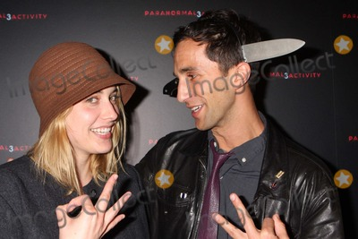 "Greta Gerwig, Ariel Schulman Photo - Greta Gerwig and Director Ariel Schulman Arriving at a Super Fan Screening of ""Paranormal Activity 3"" at Regal Union Square Stadium 14 in New York City on 10-18-2011. Photo by Henry Mcgee-Globe Photos, Inc. 2011."