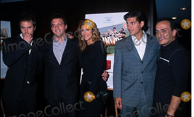 "Andrew Davoli, Anthony Russo, Jennifer Esposito, Joe Russo, Sam Rockwell Photo - Sd0926 ""Welcome to Collinwood"" Screening at the Bryant Park Hotel, New York City Photo: Henry Mcgee/ Globe Photos Inc. 2002 Sam Rockwell, Anthony Russo, Jennifer Esposito, Andrew Davoli & Joe Russo"