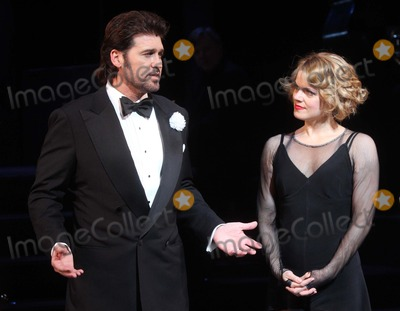 "Amy Spanger, Billy Ray, Billy Ray Cyrus Photo - Billy Ray Cyrus with Co-star Amy Spanger Takes His Opening Night Curtain Call After Making His Broadway Debut in the Musical ""Chicago"" at the Ambassador Theatre in New York City on 11-05-2012. Photo by Henry Mcgee-Globe Photos, Inc. 2012."