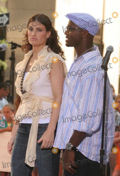 Idina Menzel, Taye Diggs, The Cast Photo - New York, NY 8-4-2005Idina Menzel and Taye Diggs performing with the cast of the movie RENT on The Today Show Toyota Concert Series in Rockefeller Center.Digital Photo by Lane Ericcson-PHOTOlink.org