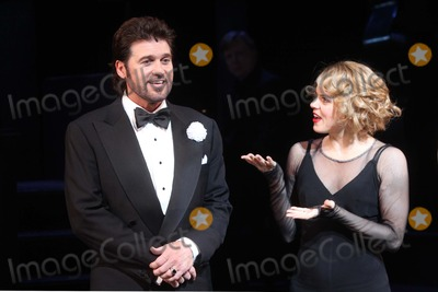"""Amy Spanger, Billy Ray, Billy Ray Cyrus Photo - Billy Ray Cyrus with Co-star Amy Spanger Takes His Opening Night Curtain Call After Making His Broadway Debut in the Musical """"Chicago"""" at the Ambassador Theatre in New York City on 11-05-2012. Photo by Henry Mcgee-Globe Photos, Inc. 2012."""