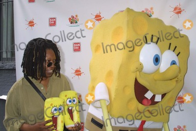 """Elizabeth Glaser, Whoopi Goldberg, Whoopie Goldberg Photo - NYC  09/20/03Whoopi Goldberg with her own Spongebob slippers from home and Spongebob himself at the 10th anniversary of """"KID FOR KIDS"""" Celebrity Carnival to benefit the Elizabeth Glaser Pediatric AIDS FoundationDigital Photo by Adam Nemser/PHOTOlink"""
