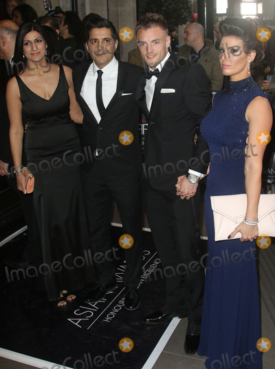 Jamie Vardy Photo - April 8, 2016 - Anushka Bhasin, Manish Bhasin, Jamie Vardy and fiancee Becky Nicholson attending The Asian Awards 2016, Grosvenor House Hotel in London, UK.