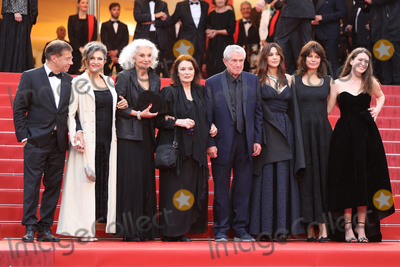 """Anouk Aimee, Claude Lelouch, Claude Lelouche, Marianne Denicourt, Monica Bellucci Photo - CANNES, FRANCE - MAY 18: Antoine Sire, guest, Anouk Aimee, Claude Lelouch, Monica Bellucci, Marianne Denicourt and Tess Lauvergne attend the screening of """"Les Plus Belles Annees D'Une Vie"""" during the 72nd annual Cannes Film Festival on May 18, 2019 in Cannes, France.  (Photo by Laurent Koffel/ImageCollect.com)"""