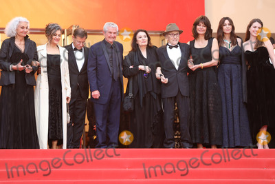 """Anouk Aimee, Claude Lelouch, Claude Lelouche, Jean-Louis Trintignant, Marianne Denicourt, Monica Bellucci Photo - CANNES, FRANCE - MAY 18: (2L-R) Souad Amidou, Antoine Sire, Claude Lelouch, Anouk Aimee, Jean-Louis Trintignant, Marianne Denicourt, Monica Bellucci and Tess Lauvergne attend the screening of """"Les Plus Belles Annees D'Une Vie"""" during the 72nd annual Cannes Film Festival on May 18, 2019 in Cannes, France. (Photo by Laurent Koffel/ImageCollect.com)"""