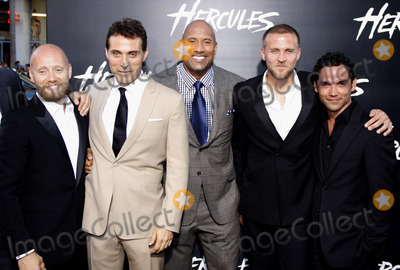 "Dwayne Johnson, Reece Ritchie, Rufus Sewell, Aksel Hennie, TCL Chinese Theatre, Tobias Santelmann Photo - Aksel Hennie, Rufus Sewell, Dwayne Johnson, Tobias Santelmann and Reece Ritchie at the Los Angeles premiere of ""Hercules"" held at the TCL Chinese Theatre in Los Angeles on July 23, 2014 in Los Angeles, California. Credit: PopularImages"