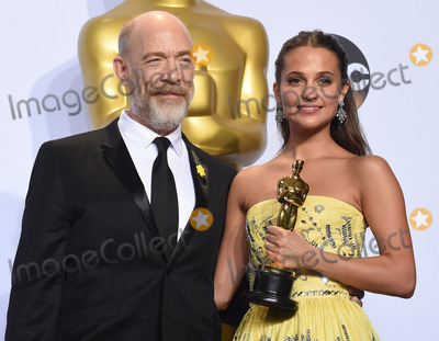 J K Simmons, J. K. Simmons, J.K. Simmons, The 88, JK Simmons, Alicia Vikander, J.K Simmons Photo -   February 28 2016, LA  J.K. Simmons and Alicia Vikander, winner of the award for Best Actress in a Supporting Role for 'The Danish Girl,'  in the press room during the 88th Annual Academy Awards at Loews Hollywood Hotel on February 28, 2016 in Hollywood, California  By Line: Z16/ACE Pictures   ACE Pictures, Inc. tel: 646 769 0430