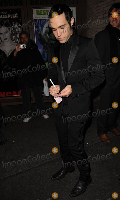 Pete Wentz, Ashlee Simpson, Ashlee Simpson Wentz, Ashlee Simpson-Wentz Photo - Musician Pete Wentz arriving at his wife Ashlee Simpson-Wentz's Broadway debut in 'Chicago' at the Ambassador Theatre on November 30, 2009 in New York City.