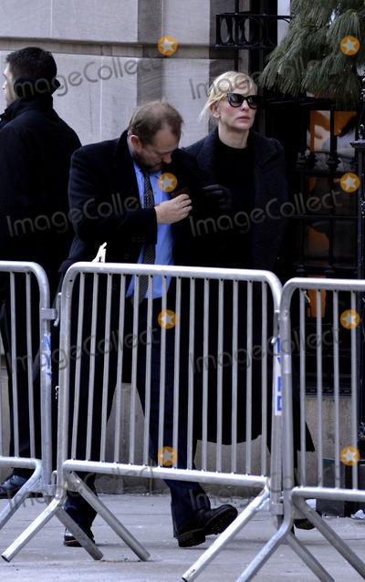 Andrew Upton, Cate Blanchett, Philip Seymour Hoffman, CATE BLANCHETTE Photo - February 7 2014, New York City  Cate Blanchett, Andrew Upton attending Philip Seymour Hoffman's funeral at St Ignatius Loyola Church in Manhattan on February 7, 2014 in New York City.