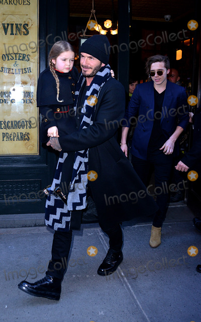 Brooklyn Beckham, David Beckham Photo -   February 14 2016, New York City  David Beckham, his daughter Harper and Brooklyn Beckham (R) leaving Baththazar Restaurant on February 14 2016 in New York City  By Line: Curtis Means/ACE Pictures   ACE Pictures, Inc. tel: 646 769 0430