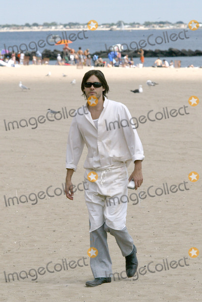 """Jared Leto, Coney Island Photo - Actor Jared Leto returns to Coney Island.     Four years ago Leto starred in 'Requiem For a Dream' a drama about a drug addict which unfolded on Coney Island.     Today, Jared Leto returns to film his latest thriller, """"Lord of War.""""     Gentleman Leto did a heroic thing while on the movie set. Leto rescued a Russian girl from a stalker who followed her from home to the ocean front. Later, Leto approached the girl to find out if she was OK. Russian girl was a bit shaken but grateful to her rescuer.    Brooklyn, New York, August 7, 2004."""