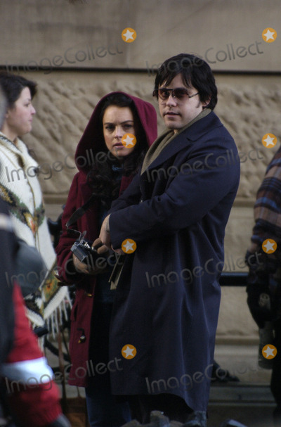 """Jared Leto, John Lennon, Lindsay Lohan Photo - Lindsay Lohan and Jared Leto were on the set of their new movie """"Chapter 27"""" outside the Dakota Building on the Upper West Side of Manhattan. The movie follows the movements of Mark Chapman (played by Leto) up to the moment when he murders John Lennon, which took place 25 years ago at the exact spot where filming is currently taking place."""