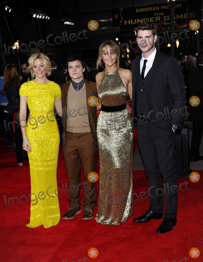 "Jennifer Lawrence, Josh Hutcherson, Liam Hemsworth, Elizabeth Banks Photo - Elizabeth Banks, Josh Hutcherson, Jennifer Lawrence and Liam Hemsworth at the UK premiere of ""The Hunger Games"" held at the O2 Area on March 14 2012 in London"