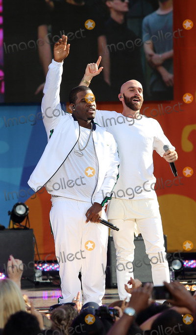 Sam Harris, X Ambassadors, A$AP Ferg Photo -   August 5 2016, New York City  Hip Hop recording artist A$AP Ferg (L) performs with singer Sam Harris of the X Ambassadors during ABC's 'Good Morning America' Concert series at the SummerStage at Rumsey Playfield, Central Park on August 5, 2016 in New York City.   By Line: Serena Xu/ACE Pictures   ACE Pictures Inc Tel: 6467670430
