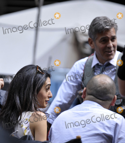 George Clooney, Amal Clooney Photo -   April 18 2015, New York City  Actor George Clooney was joined by his wife Amal Clooney on the set of Money Monster on April 18 2015 in New York City  By Line: Curtis Means/ACE Pictures   ACE Pictures, Inc. tel: 646 769 0430