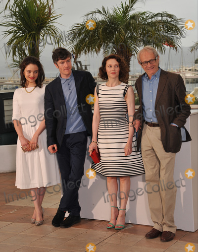 "Ken Loach, Simone Kirby, Aisling Franciosi Photo - Director Ken Loach (right) with actors Aisling Franciosi (left), Barry Ward & Simone Kirby at the photocall for their movie ""Jimmy's Hall"" at the 67th Festival de Cannes.