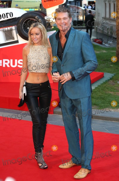 """David Hasselhoff, Rush, Hayley Roberts Photo - David Hasselhoff and Hayley Roberts arriving for the """"Rush"""" World premiere at the Odeon Leicester Square, London. 02/09/2013 Picture by: Henry Harris / Featureflash"""