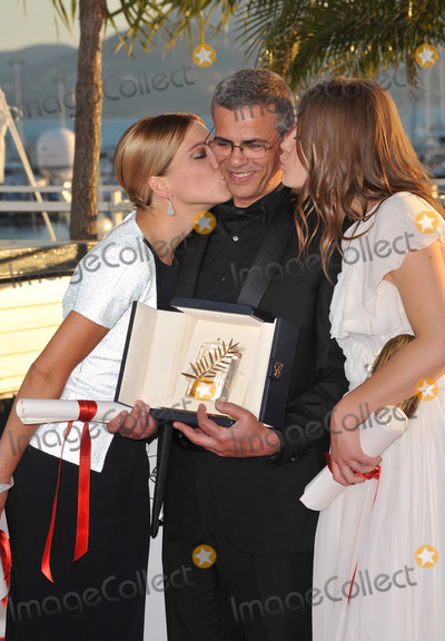 Adele, Adele Exarchopoulos, Abdellatif Kechiche, Léna Jam-Panoï Photo - Palme D'Or winners Lea Seudoux, Adele Exarchopoulos & director Abdellatif Kechiche at the closing awards gala of the 66th Festival de Cannes.May 26, 2013  Cannes, FrancePicture: Paul Smith / Featureflash