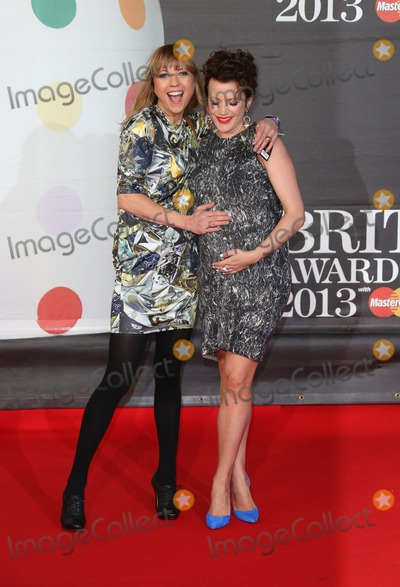 Annie Mac, Sara Cox, Sara  Cox Photo - Sara Cox and Annie Mac arrives for the Brit Awards 2013 at the O2 Arena, Greenwich, London. 20/02/2013 Picture by: Henry Harris / Featureflash