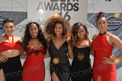 June's Diary, Ashly Williams Photo - LOS ANGELES, CA. June 26, 2016: Girl group June's Diary - Ashly Williams, Brienna DeVlugt, Gabrielle Carreiro, Kristal Lyndriette, & Shyann Roberts - at the 2016 BET Awards at the Microsoft Theatre LA Live. Picture: Paul Smith / Featureflash