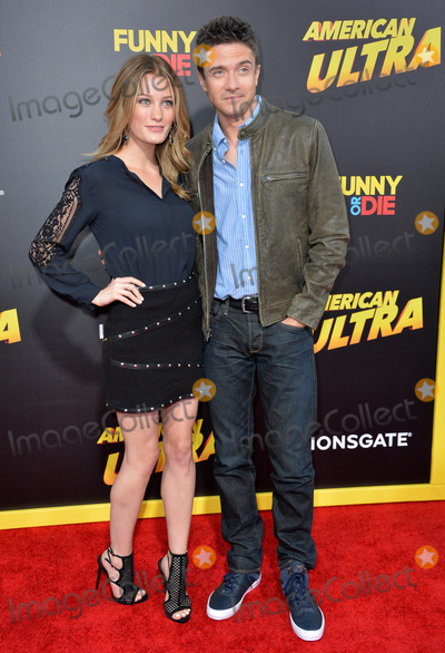 "Ashley Hinshaw, Topher Grace Photo - Topher Grace & girlfriend Ashley Hinshaw at the world premiere of his movie ""American Ultra"" at The Ace Hotel Downtown.