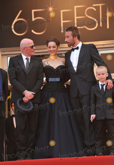 "Jacques Audiard, Marion Cotillard, Matthias Schoenaerts, Armande Altaï Photo - Actors Matthias Schoenaerts, Armand Verdure, Marion Cotillard & director Jacques Audiard at the premiere of ""Rust & Bone"" in competition at the 65th Festival de Cannes.