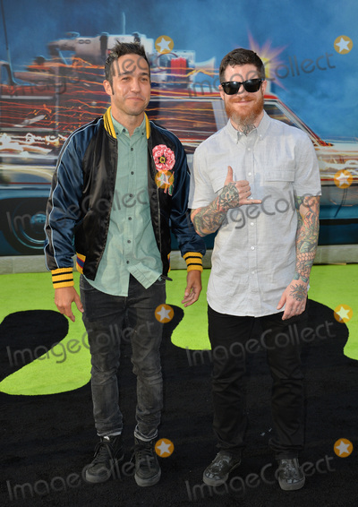 """Andy Hurley, Fall Out Boy, Pete Wentz, TCL Chinese Theatre Photo - LOS ANGELES, CA. July 9, 2016: Rock band Fall Out Boy - Pete Wentz & Andy Hurley at the Los Angeles premiere of """"Ghostbusters"""" at the TCL Chinese Theatre, Hollywood.Picture: Paul Smith / Featureflash"""