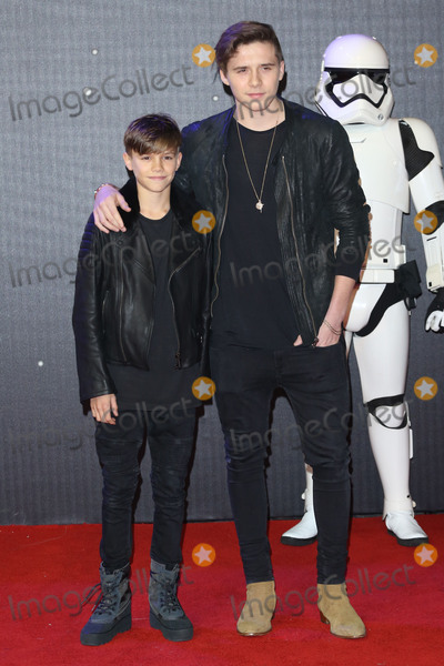 """Brooklyn Beckham, Romeo Beckham, James Smith, Leicester Square Photo - Romeo Beckham & Brooklyn Beckham at the European premiere of """"Star Wars: The Force Awakens"""" in Leicester Square, London. December 16, 2015  London, UKPicture: James Smith / Featureflash"""