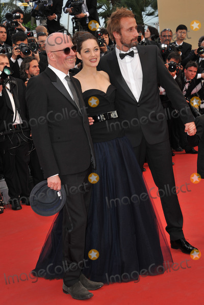 """Jacques Audiard, Marion Cotillard, Matthias Schoenaerts Photo - Actors Matthias Schoenaerts & Marion Cotillard & director Jacques Audiard at the premiere of """"Rust & Bone"""" in competition at the 65th Festival de Cannes.May 17, 2012  Cannes, FrancePicture: Paul Smith / Featureflash"""