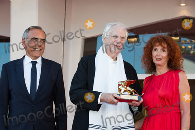"""Alberto Barbera, Bertrand Tavernier, Sabine Azema, French Director? Photo - Actress Sabine Azema, French director Bertrand Tavernier, Venice Film Festival director Alberto Barbera at a special screening of Tavernier's 1989 movie """"Life And Nothing But"""" (""""La vie et rein d'autra""""). He was awarded with the Golden Lion For Lifetime Achievement 2015 at a ceremony at the 2015 Venice Film Festival.September 8, 2015  Venice, ItalyPicture: Kristina Afanasyeva / Featureflash"""