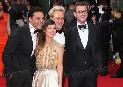 Louise Thompson, Oliver Proudlock, Andy Jordan, Jamie Lang Photo - Andy Jordan, Louise Thompson, Jamie Lang and Oliver Proudlock arriving for the TV BAFTA Awards 2013, Royal Festival Hall, London. 12/05/2013 Picture by: Alexandra Glen / Featureflash