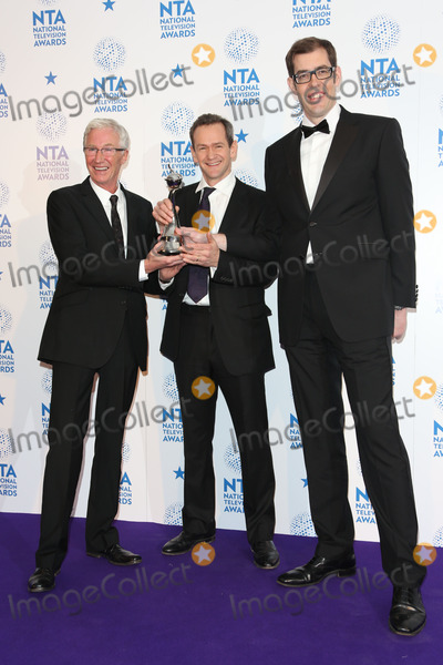 Alexander Armstrong, Paul O'Grady, Richard Osman, The National Photo - Paul O'Grady, Alexander Armstrong and Richard Osman in the winners room at The National Television Awards (NTA's) 2013 held at the O2 arena, London. 23/01/2013 Picture by: Henry Harris / Featureflash