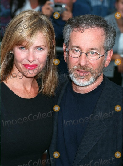 """Kate Capshaw, Steven Spielberg Photo - 21JUL98:  Director STEVEN SPIELBERG (right) & actress wife KATE CAPSHAW at the world premiere of his new movie, """"Saving Private Ryan,"""" in Los Angeles."""