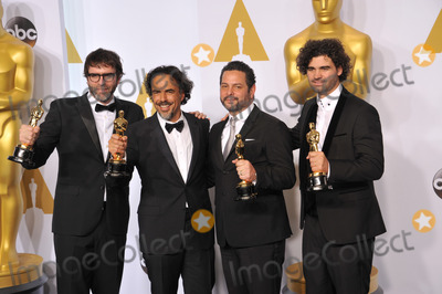 Alejandro Gonzalez Inarritu, Armando Bo, Alexander Dinelaris Photo - Alejandro Gonzalez Inarritu & Nicolas Giacobone & Alexander Dinelaris Jr. & Armando Bo at the 87th Annual Academy Awards at the Dolby Theatre, Hollywood.